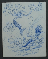 Sketch with 2 Mermaids 1991